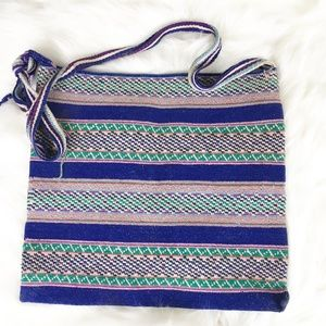 Vintage Hand Woven Import Colorful Tote Bag